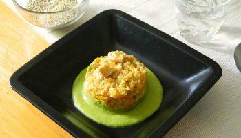 quinoa con pollo con salmorejo de esparragos1